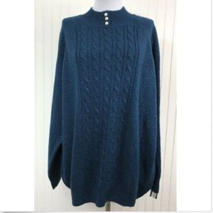 Karen Scott NWT 2X Mock Turtleneck Sweater Blue